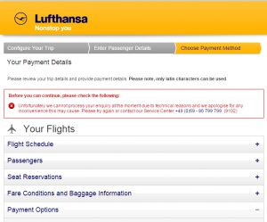 Lufthansa - Cannot Process